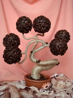 Top 10 DIY Projects with Coffee Beans Dad would love it! Bonsai theme.