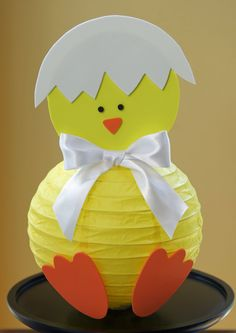 DIY Easter chick paper lantern with foam decorations