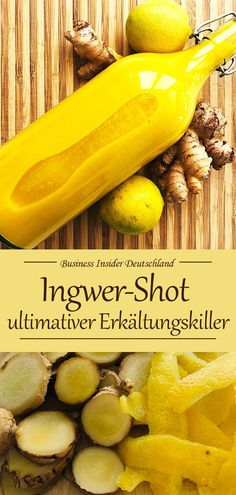 Ingwer-Shot — der ultimative Erkältungskiller Don't feel like a cold? Ginger shot is always the right answer to everything that has to do with colds. Here is the recipe for the cold killer ginger shot. Healthy Foods To Eat, Healthy Drinks, Healthy Life, Healthy Eating, Healthy Recipes, Detox Recipes, Smoothie Recipes, Superfood, Clean Eating