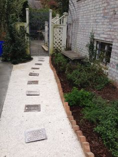 Oyster shell path around the side of the house Hardscape Design, Brickwork, Greenhouses, Walkway, Oysters, Sea Shells, Paths, Beach House, Garden Ideas