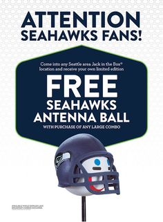 Seattle Seahawks and Jack-In-The-Box car antenna ball giveaway #sponsorship