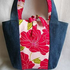 eco tote made from denim jeans and a poppy cotton skirt