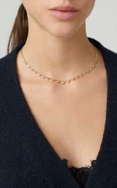 Yellow Gold XL Diamond Emily Necklace by Jacquie Aiche Gold Necklace Simple, Gold Jewelry Simple, Yellow Necklace, Gold Chain Design, Gold Jewellery Design, Bridal Jewellery, Fashion Necklace, Fashion Jewelry, Gold Fashion