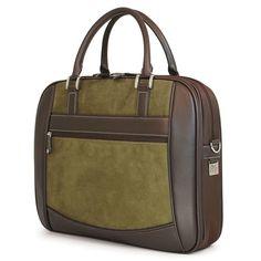 Element Briefcase - Green Suede