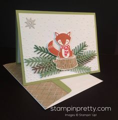 ORDER STAMPIN' UP! ON-LINE! Today's holiday card idea combines Cozy Critters stamp set & coordinating Fox Builder Punch. 1000+ card samples.