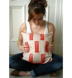 Handmade London British Red Post Boxes retro style cushion with duck feather filling