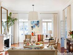Neutral colors. Design: Susan Noble Jones. housebeautiful.com. #neutral #white #living_room