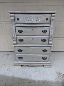 This chest is nice and tall and would be perfect as a tv stand at the end of a bed or in the corner of the room. Plenty of storage for those small spaces. The dimensions are L, W, H Shabby Chic Chest Of Drawers, 5 Drawer Chest, Small Spaces, Dresser, Storage, Room, Furniture, Corner, Tv