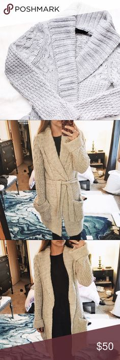 Zara • Grey Cable Knit Cardigan Gently loved! Cable knot robe style cardigan from Zara with waist tie and side pockets. A perfect sweater for the winter. Color is like the first photo. Zara Sweaters Cardigans