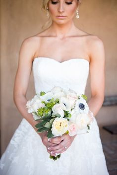 Ivory and Blush Bouquet With Anemones and Garden Roses