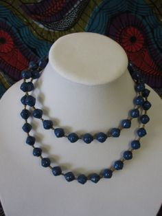 18 inch Long Blue African Paper Bead by NyakaGrandmotherShop