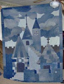 sew n sews: Guest guild at HMQS Jean Crafts, Denim Crafts, Fabric Art, Fabric Crafts, Blue Jean Quilts, Denim Art, Yarn Wall Hanging, House Quilts, Handmade Handbags