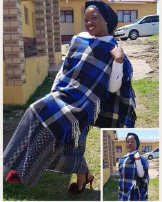 Everyday street fashion for Shweshwe And Umakoti patterns also includes the strict business look. Cotton and linen suits are in demand here. Xhosa Attire, African Traditional Wear, Linen Suit, Africa Fashion, African Women, Plaid Scarf, Editorial Fashion, South Africa, Southern