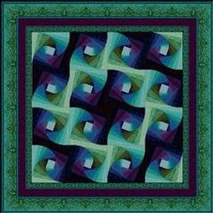 Twisted Log Cabin Quilt Pattern | Patterns > Shimmering Sea Pattern