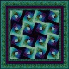 Twisted Log Cabin Quilt Pattern   Patterns > Shimmering Sea Pattern