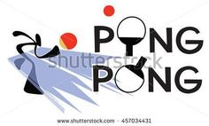 Table Tennis or Ping Pong sport games Sign and symbol Shadow man cartoon design