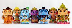 Set of 7 Hindu Mythology DIY Paper Toys