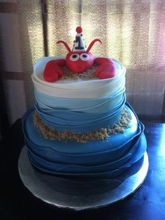 for first birthday! Adult Birthday Cakes, Baby First Birthday, Birthday Party Themes, 4th Birthday, Birthday Ideas, Lobster Party, Lobster Cake, Octonauts Party, Occasion Cakes