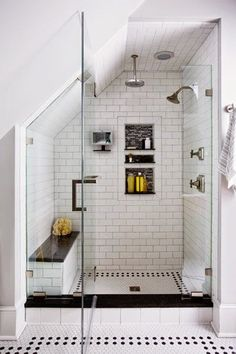 6 Superb Tips: Bathroom Remodel Wainscotting Doors bathroom remodel stone sinks.Bathroom Remodel Bathtub House complete bathroom remodel on a budget.Bathroom Remodel On A Budget Toilets. Loft Bathroom, Upstairs Bathrooms, Bathroom Renos, Bathroom Remodeling, Budget Bathroom, Remodel Bathroom, Remodeling Ideas, Shower Remodel, Sloped Ceiling Bathroom