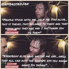 Hell yeahh all you haters can kiss the champs ass !!  Dean dont care if you hate him all you haters think he does...pfft well you think wrong ✋ Ambrose fans are stuck with him  we supported him since the beginning and we will still support him if he is face or heel it dont matter ❤️ So DEAL WITH IT HATERS !!  Im sooo happy for Dean !!