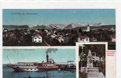 Alte Ansichtskarte Utting am Ammersee mit Prinzregent Luitpold-Denkmal 1915