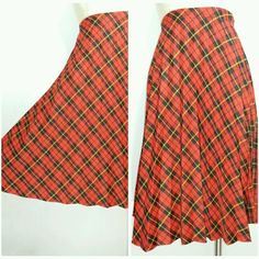 Pleated Full Skirt Size XS Accordion Hi Waisted Plaid Vintage 70s Tartan