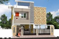 Two floors house Front Elevation Designs, House Elevation, Home Colour Design, House Design, Exterior Design, Interior And Exterior, Modern House Plans, Modern Houses, Living Room Partition