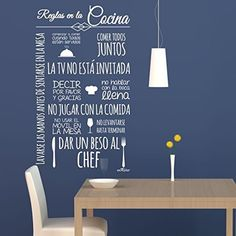 Vinilos cocina Normas Cocina. 60X100 cm. Texto en color BLANCO.