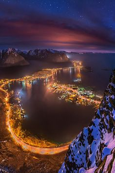 Lights From a Height, Lofoten, Norway – Amazing Pictures - Amazing Travel Pictures with Maps for All Around the World Places Around The World, Oh The Places You'll Go, Places To Travel, Places To Visit, Around The Worlds, Lofoten, Beautiful World, Beautiful Places, Beautiful Norway