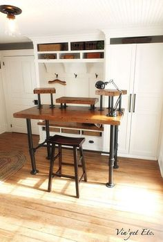 industrial desk reveal 1 3, diy, painted furniture, woodworking projects, Built with steel plumbing pipe and pine