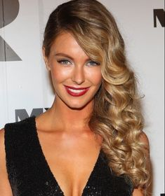 Curly hair pinned to the side