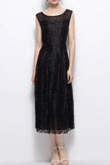 Pleated Midi Lace Dress