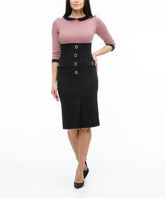 Another great find on #zulily! Black & Powder Empire-Waist Collared Dress #zulilyfinds