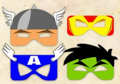 Superheroes Avengers Mask Cut-out  - Iron Man, Thor, Captain America & Hulk INSTANT DIGITAL DOWNLOAD