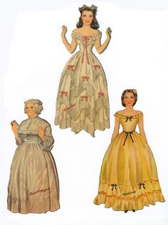 PD302 Gone With The Wind Paper Dolls / 2* 1500 free paper dolls The International Paper Doll Society Arielle Gabriel artist #QuanYin5 Twitter, Linked In QuanYin5 *