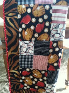 Boys baseball quilt by TickledPinkQuilts on Etsy, $65.00