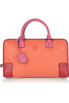 Orange and red textured-leather (Goat) Two pink top handles Designer-embossed front, padlock with functioning keys, feet Internal zipped and pouch pockets Fully lined in leather (Sheep) Zip fastening along top and sides Designer color: Coral Magenta Rossi Shoes, Makeup Pouch, Work Bags, Best Bags, Shopper Tote, Branded Bags, Loewe, Luxury Bags, Evening Bags