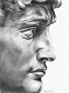 David+de+Michel-Ange Portrait of David statue by Michelangelo A4. I have a website with my name on Artquid.com #33domy Statues Grecques, Art Puns, Pencil Art, Pencil Drawings, Art Drawings, Figure Sketching, Miguel Angel, Glitch Art, A Level Art