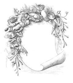 Vintage Clip Art - Gorgeous Floral Frame - The Graphics Fairy #Printable #Vintage #Floral