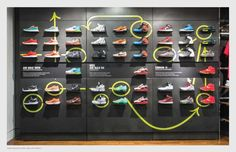 Niketown New York Level Up uses wall graphics to draw attention to their shoes.