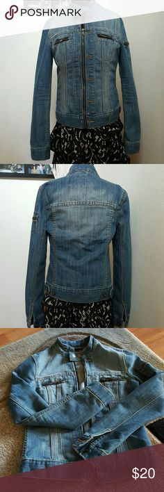 Chic jean jacket by G by Guess Like new condition, no flaws at all, was worn once.  It didn't fit anynorr after some breast augmentation that's why I'm selling it.  Otherwise it is such a nice piece to keep. G by Guess Jackets & Coats Jean Jackets