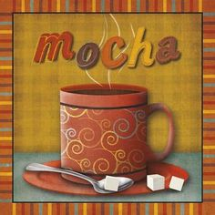 """GreatBigCanvas """"""""Mocha""""""""by SD Graphics Studio Canvas Wall Art, Multi-Color Coffee And Books, Coffee Art, Big Wall Art, Canvas Wall Art, Café Chocolate, Cake Illustration, Contemporary Wall Decor, Detail Art, Types Of Art"""