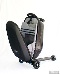 The luggage that is also a scooter! >>> Why walk through the airport when you can skate through???