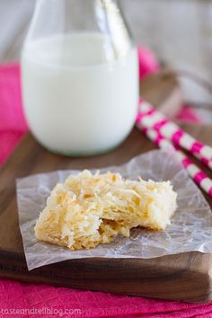 Coconut Macaroon Bars - Taste and Tell--with vanilla instead of almond extract.  This was too good and so easy. I made a chocolate ganache glaze for the top that really made them pop.