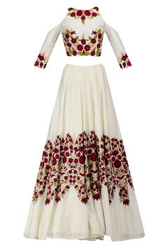 Ivory resham embroidered cold shoulder lehenga set available only at Pernia's Pop Up Shop.