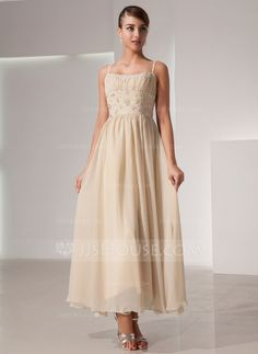 A-Line/Princess Scoop Neck Ankle-Length Ruffle Beading Zipper Up Spaghetti Straps Sleeveless Champagne Spring Fall General Plus Chiffon Holiday Dress