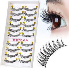 10 pairs/pack Professional Eye Lash Tools Kit Hand Made Natural Long Synthetic Hair Lash Extension Fake Eye Lashes
