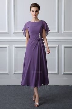 A-Line/Princess Jewel Tea-length Chiffon Mother of the Bride Dress