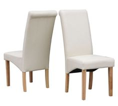 WestWood Furniture Set of 4 Premium Cream Faux Leather Dining Chairs Roll Top Scroll High Back with Solid Wood Legs Foam Padded Seat Contemporary Modern Look Dining Chair Covers, Dining Chair Slipcovers, Dining Chair Set, Dining Room Table, Plastic Dining Chairs, High Back Dining Chairs, Modern Dining Chairs, Cream Leather Dining Chairs, Roll Top