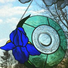 Old crystal plate done with stained glass around as a wedding gift.